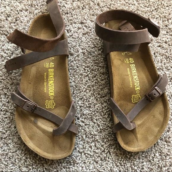7a978b558916 Birkenstock Shoes - Almost brand new brown ankle wrap Birkenstocks.